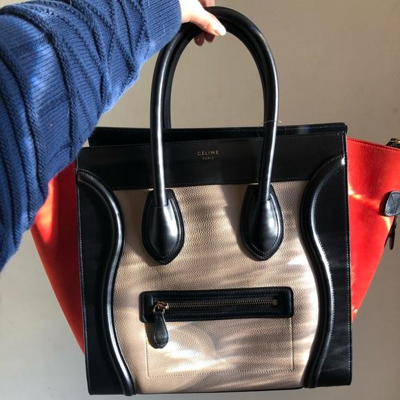 NWT Celine Tricolor Luggage Tote Handbag Medium 7bf4d7110aa40